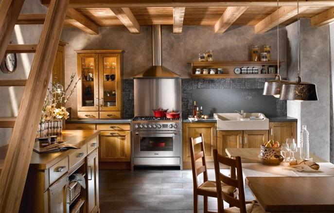 Кухня в загородном коттедже рустикального направления