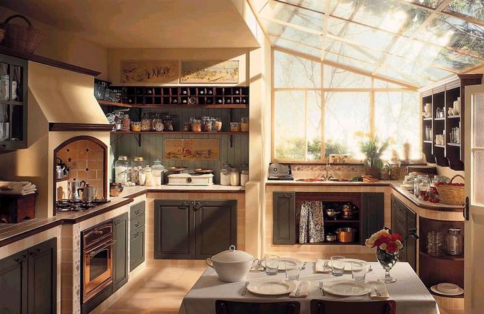 Кухня в стиле прованс в загородном коттедже