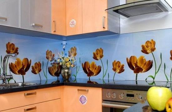 Стеклянные кухонные фартуки: достоинства, недостатки, варианты исполнения