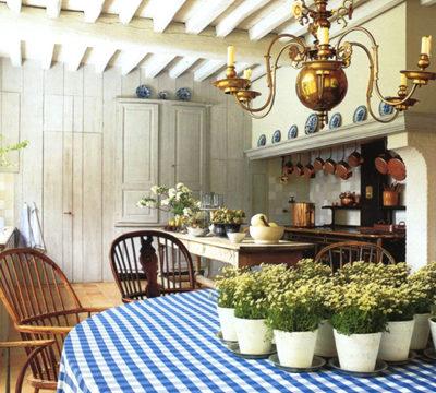 Стилистическое оформление кухни в загородном коттедже