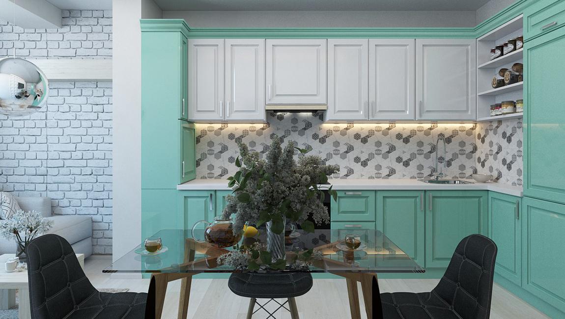 Мятно-зеленая кухня 2019