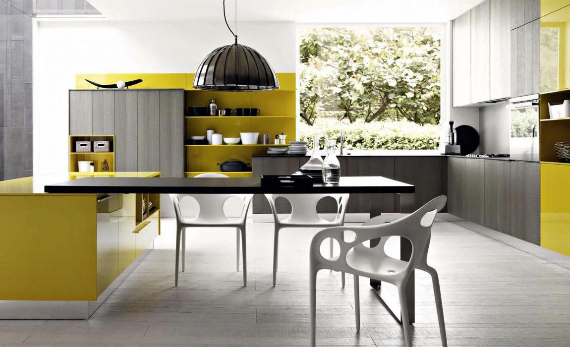 Желтая итальянская кухня в стиле модерн 2019