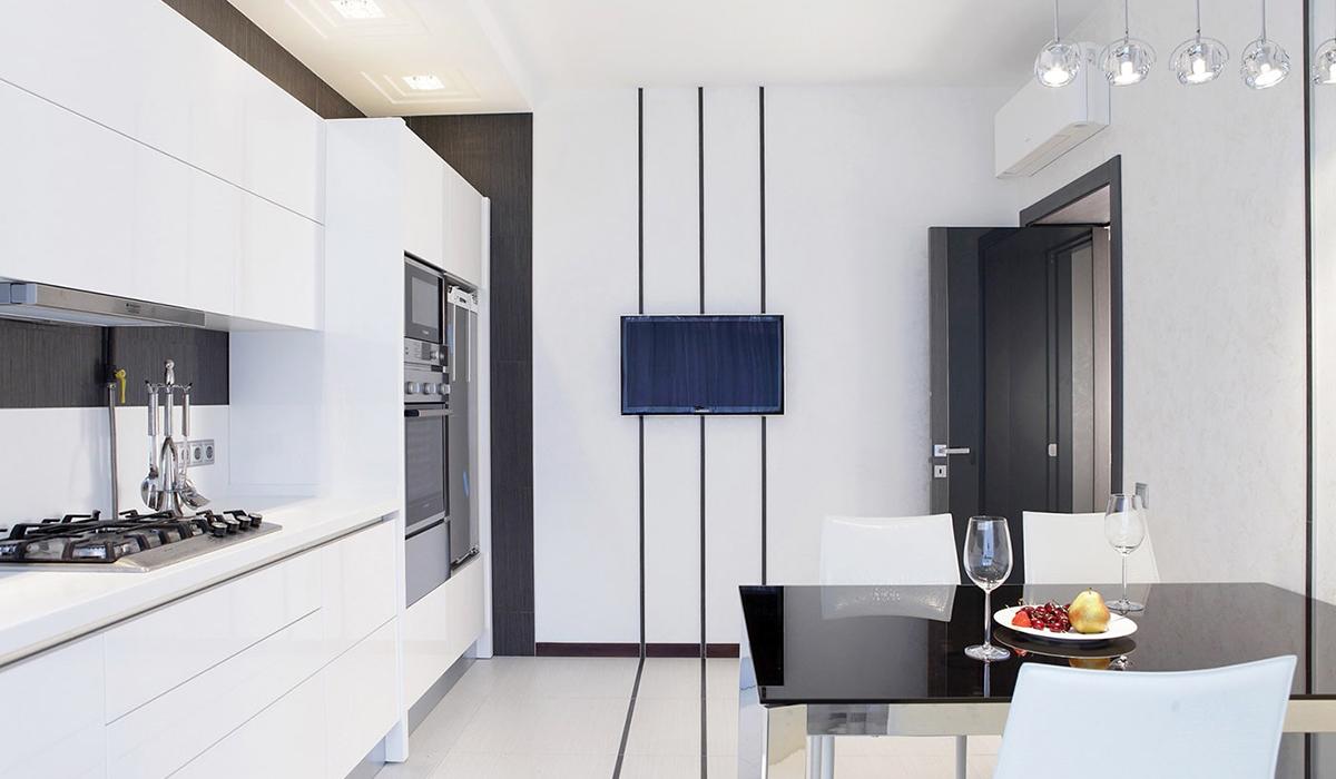 Белая кухня в стиле минимализм