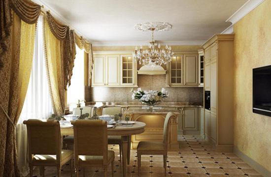 Кухня в классическом стиле. Основные черты, особенности, размеры, фото примеры