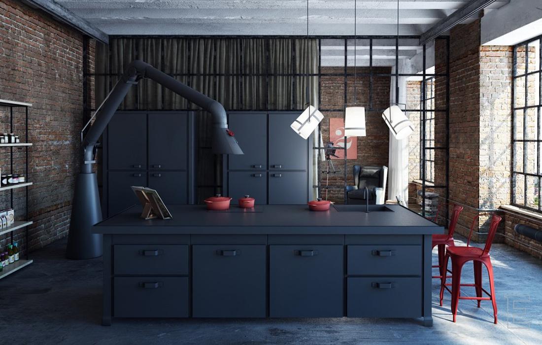 Темная кухня лофт