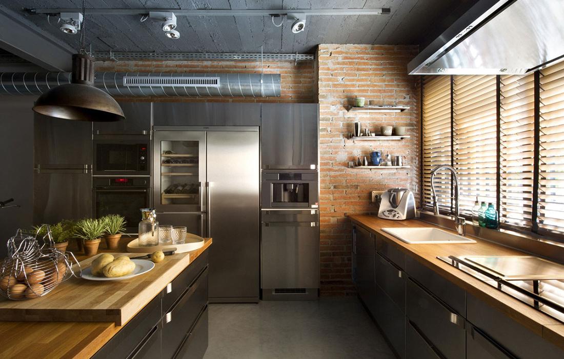Кухня лофт кирпич