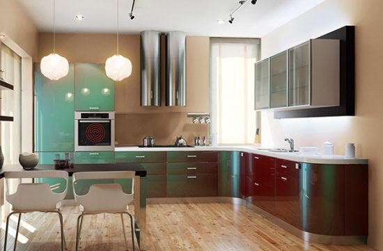 Крашеные фасады для кухни: достоинства, особенности и виды декора